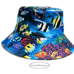 Bucket Sun Hat,12-24m baby, under the sea ocean, fish angelfish clownfish, coral